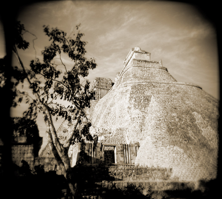 The Pyramid of the Magician at Uxmal, Mexico.