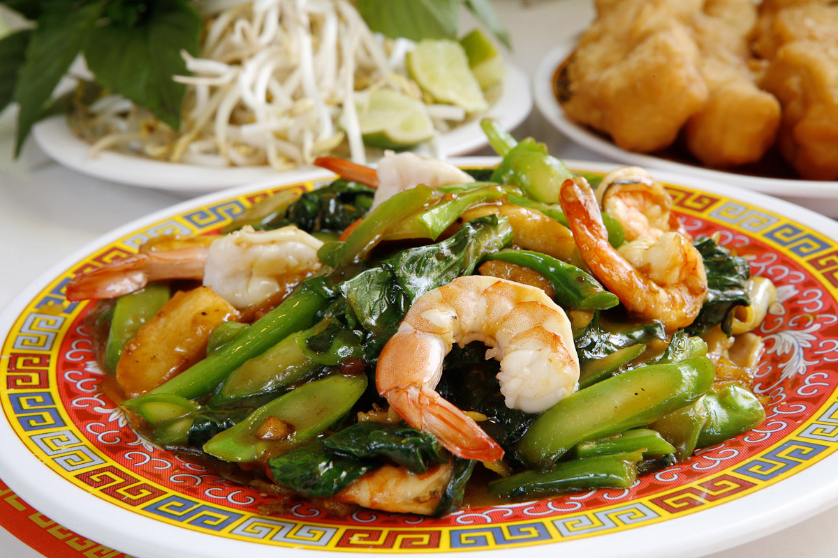 The seafood fried with large noodle entree at New Phnom Penh Cambodian restaurant in Philadelphia.