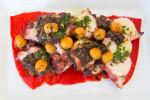 Spanish octopus with piquillo peppers, olives and capers at Tria in Philadelphia.