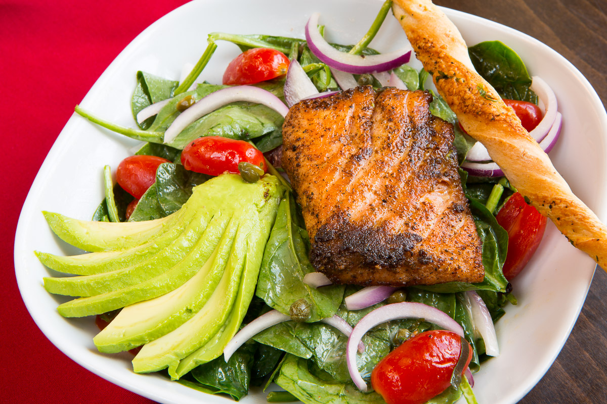 The Grilled Salmon Salad at The Tomato Bistro in Philadelphia.