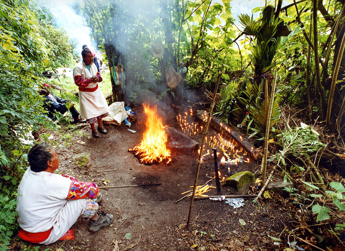 A Mayan rain ritual on the banks of Laguna Chicabal, a sacred Mayan lagoon in Guatemala.