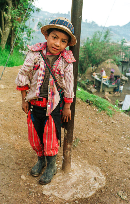 A young boy in traditional clothing in Todos Santos, Guatemala.