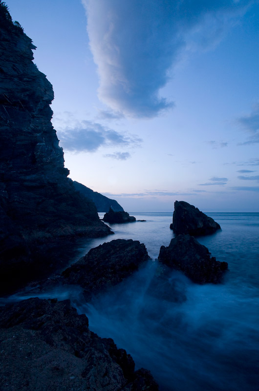 View of the Ligurian Sea at sunrise in Manarola, Cinque Terre.