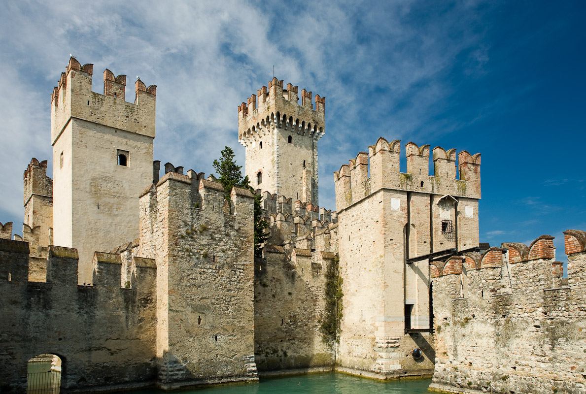 Scaliger Castle in Sirmione on Lake Garda in Lombardy.