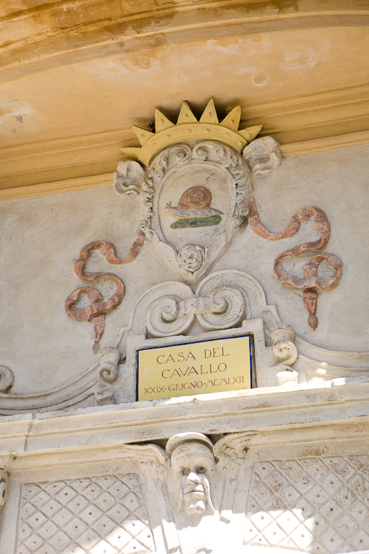 Casa Del Cavallo, the house of the horse, in the Chiocciola (snail) contrada in Siena, Tuscany.