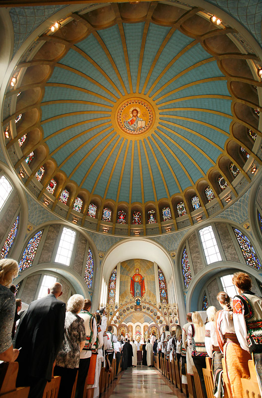 Faithfuls attend the celebration mass of the 100th anniversary of the arrival in the United States of the first bishop, Most Rev. Stephen Soter Ortynsky, OSBM, at the Ukranian Catholic Cathedral of the Immaculate Conception in Philadelphia.