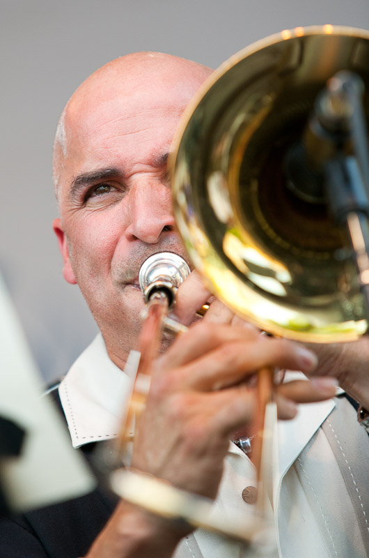 Jimmy Bosch performs with the Eddie Palmieri latin jazz band at the West Oak Lane Jazz Festival in Philadelphia.