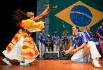 Dancer Adrienne Hall, left, and percussionist Alex Shaw perform with Alo Brasil at the World Cafe Live Wilmington.