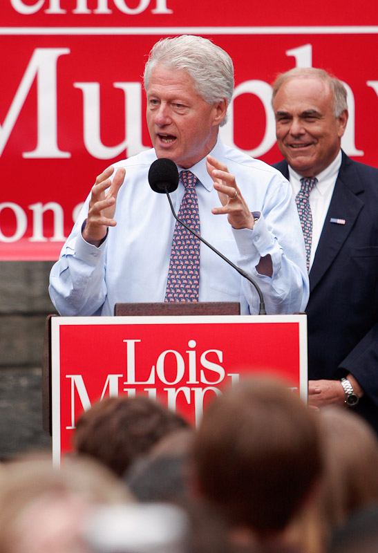 Former President Bill Clinton, left, speaks to a crowd of supporters at Bryn Mawr College in Bryn Mawr, Pa., alongside Pa. Governor Ed Rendell as the two politicians showed their support for Pa. Democratic candidate for Congress Lois Murphy.