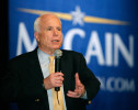Sen. John McCain answers a student's question at a University of Pa. campaign stop in 2007.