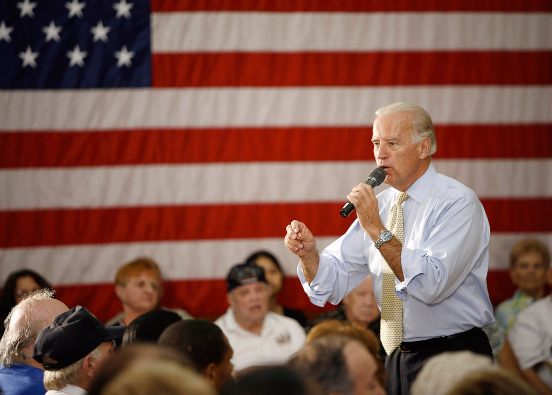 Joe Biden campaigns at the Ironworkers Local Union 401 in Philadelphia during the 2008 presidential campaign.
