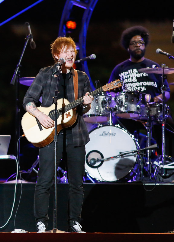 Ed Sheeran performs with the Roots at the Philly 4th of July Jam in Philadelphia.