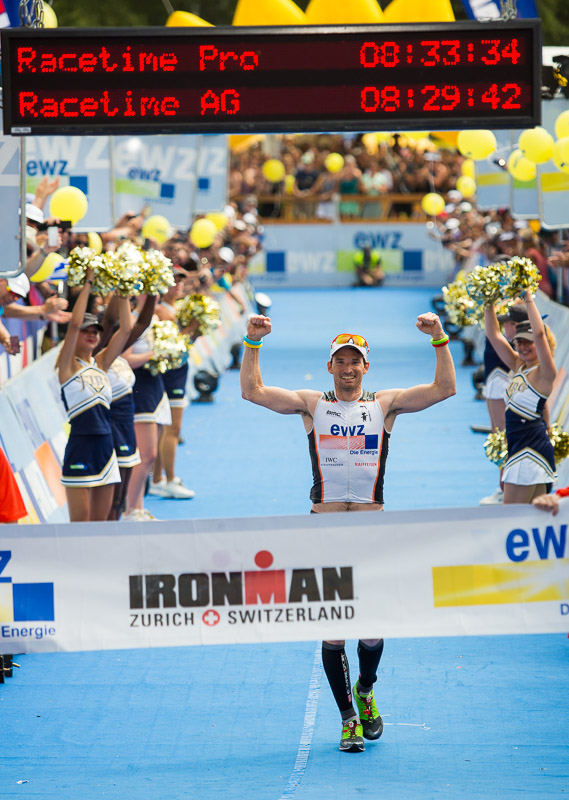 Ronnie Schildknecht wins the 2013 Ironman in Zurich, Switzerland.