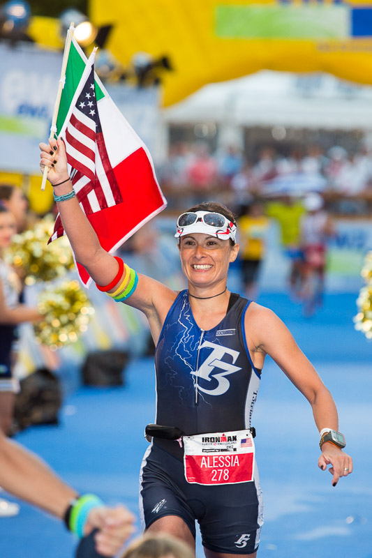 Alessia Polemi crosses the finish line at Ironman Zurich, Switzerland.