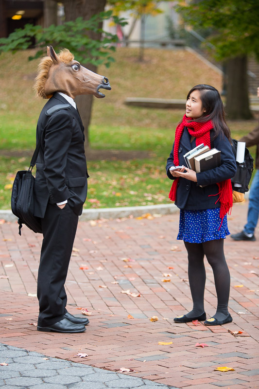 Students converse on Locust Walk on Halloween at the University of Pa. in Philadelphia.