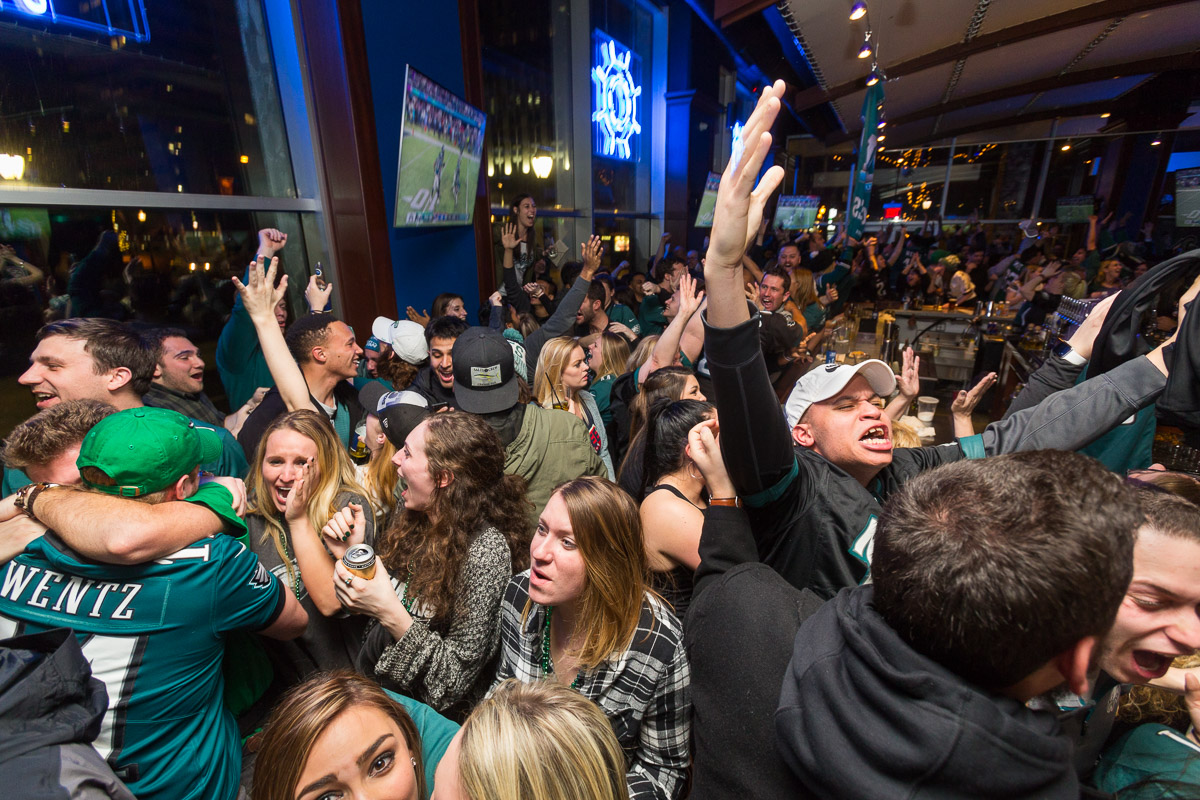 Philadelphia Eagles fans celebrate the Eagles Superbowl LII victory in Philadelphia.