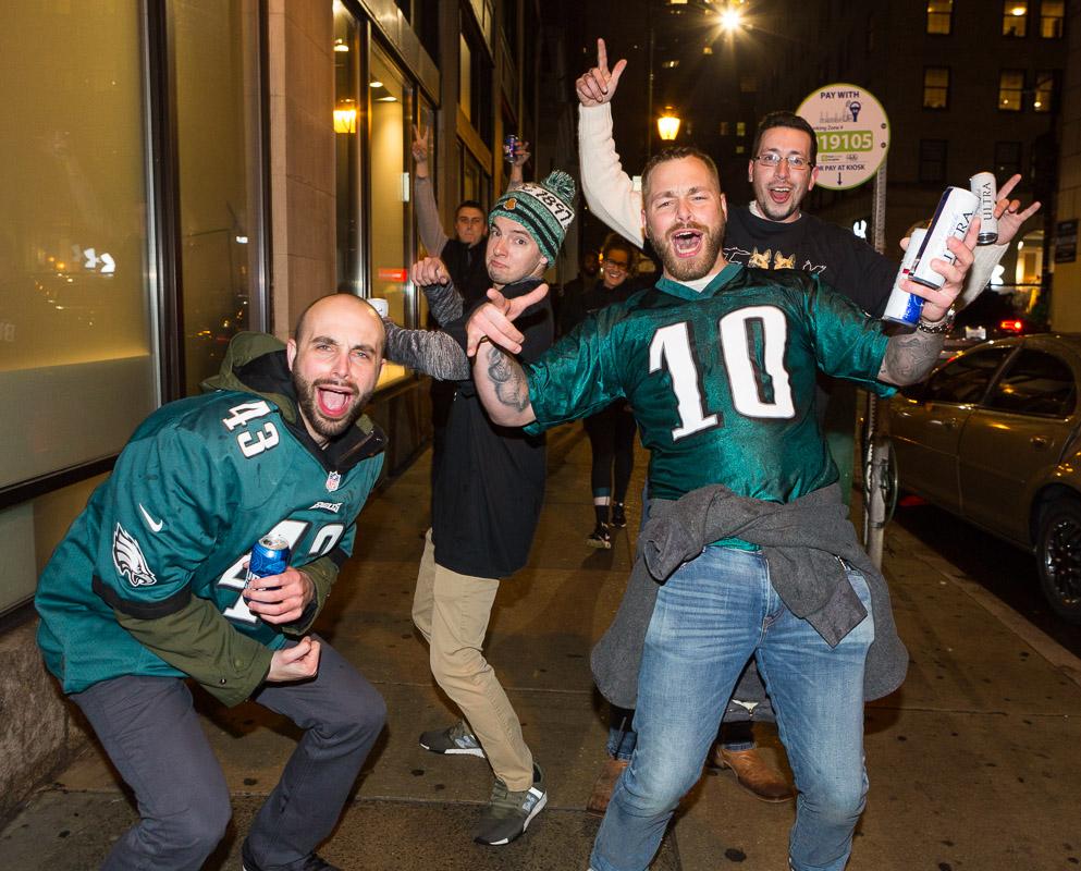 Philadelphia Eagles fans celebrate the Eagles Superbowl LII victory in Philadelphia.