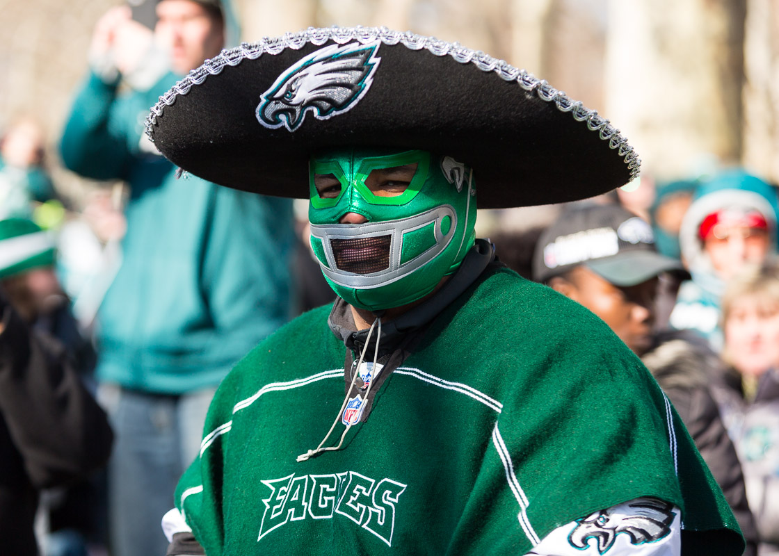 The Philadelphia Eagles fan dressed up for the Superbowl LII victory parade in Philadelphia.