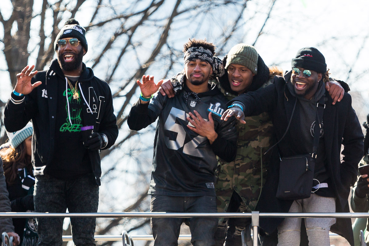The Philadelphia Eagles players celebrate at the Superbowl LII victory parade in Philadelphia.