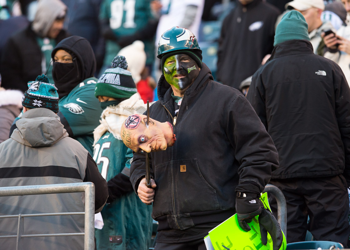 An Eagles fan is seen in the stands at Lincoln Financial Field during a playoff matchup between the Philadelphia Eagles and Atlanta Falcons.