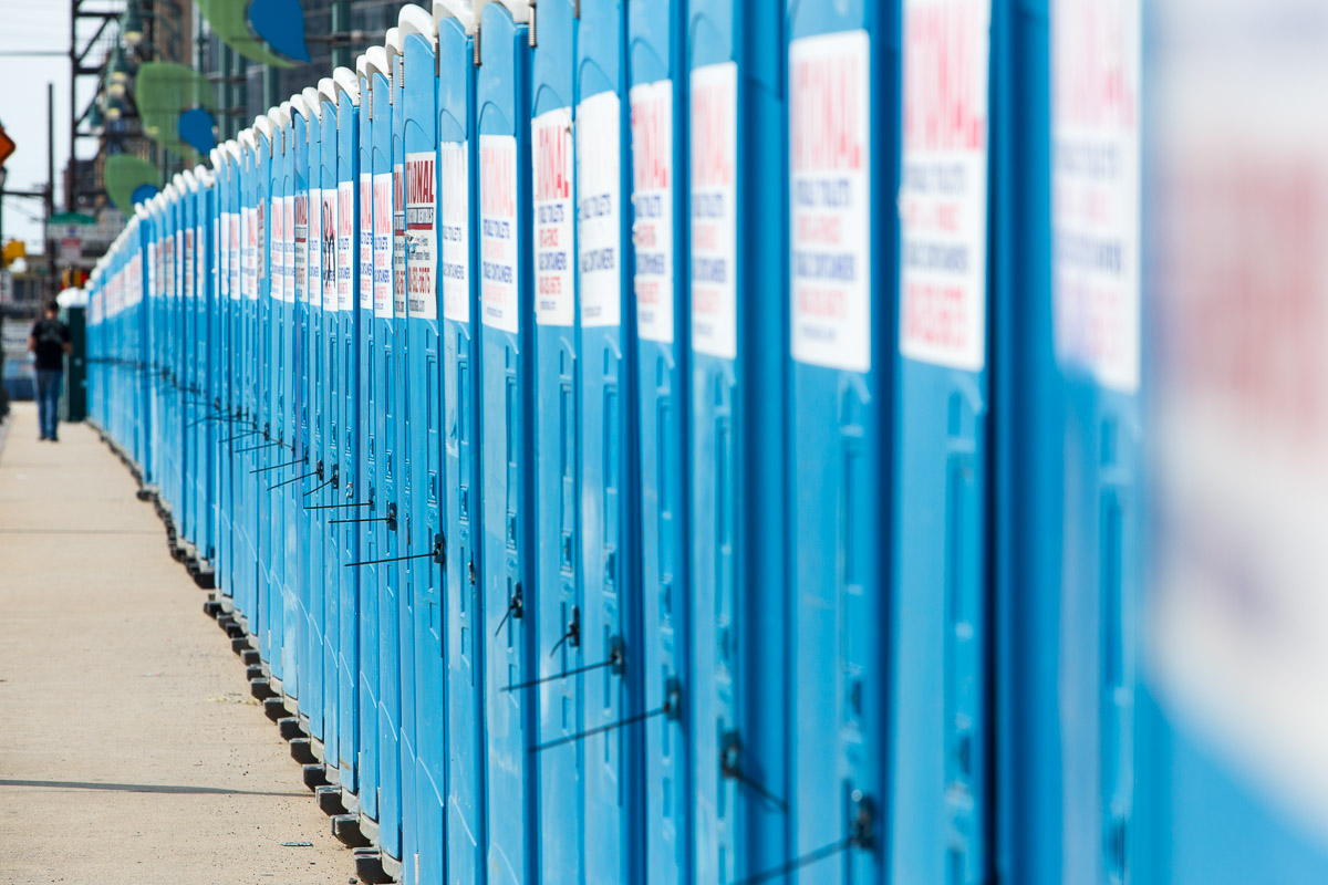 Hundreds of port-a-potties line the Walnut Street Bridge in anticipation of the arrival of pilgrims for Pope Francis' visit to Philadelphia.