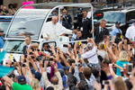 Pope Francis greets pilgrims outside Independence Hall in Philadelphia.