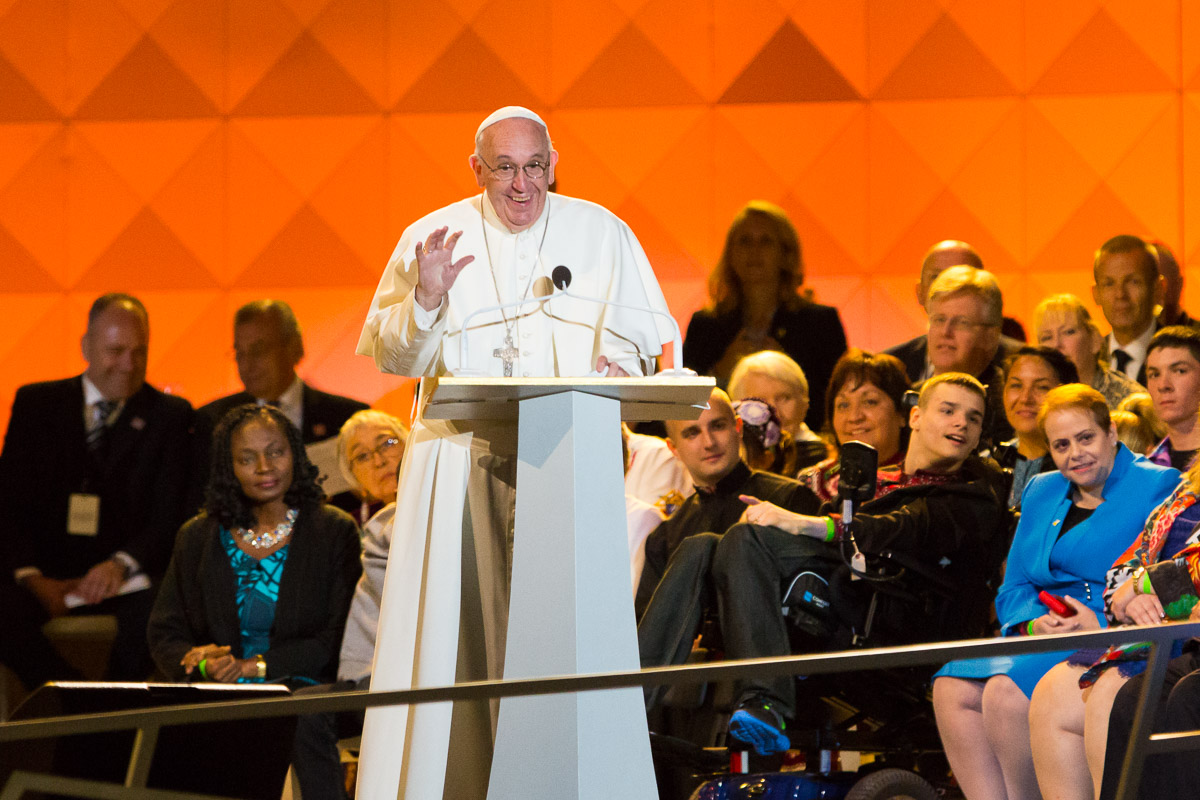 Pope Francis delivers a speech at the Festival of Families on the Ben Franklin Parkway in Philadelphia Saturday.