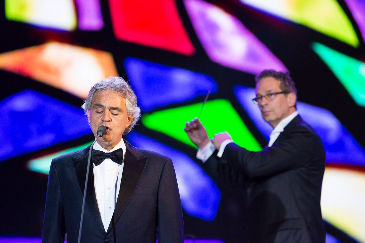 Andrea Bocelli performs at the Festival of Families on the Ben Franklin Parkway in Philadelphia.