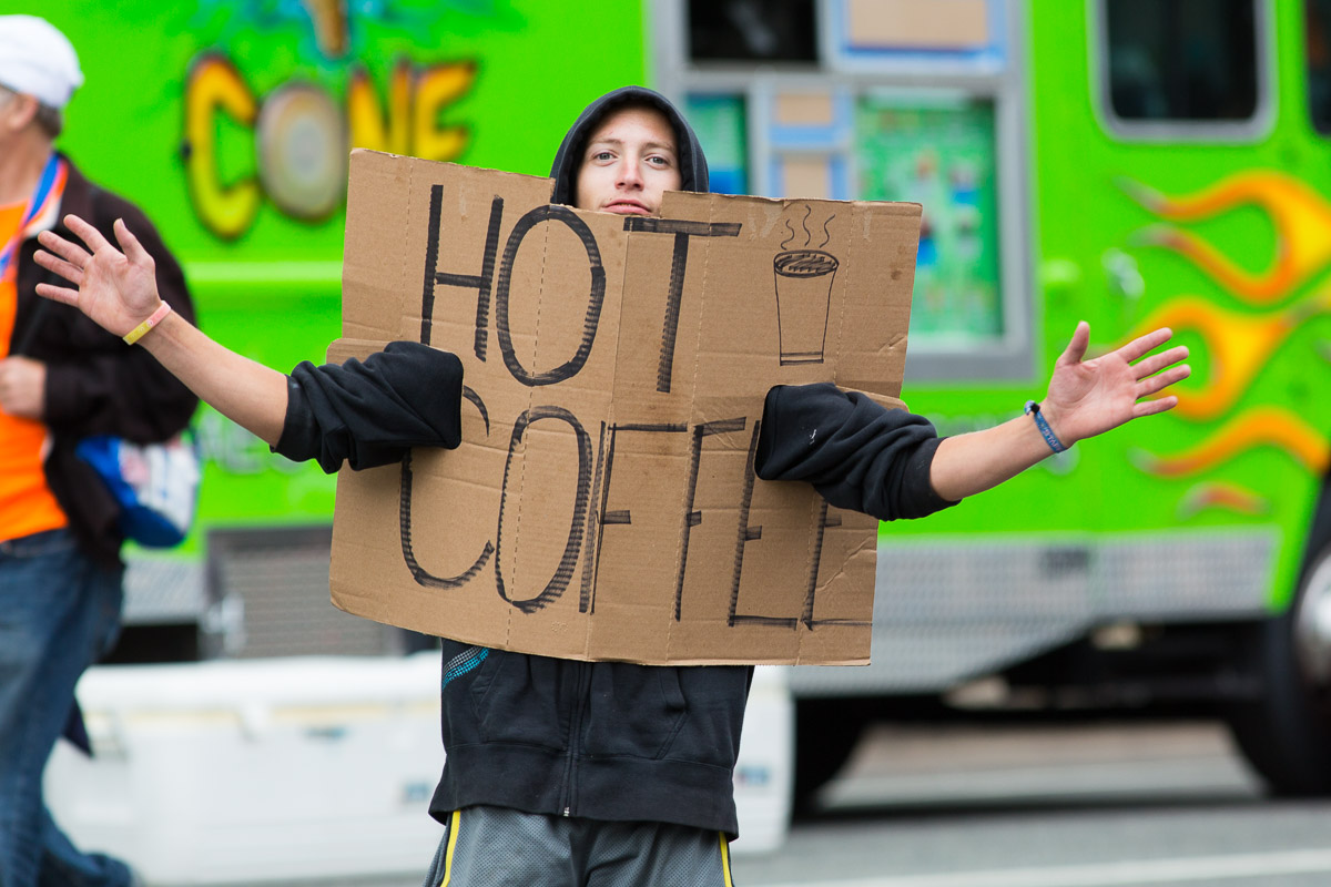 A coffee vendor in center city attempts to capitalize on the massive influx of visitors to Philadelphia during the visit of Pope Francis to the city.
