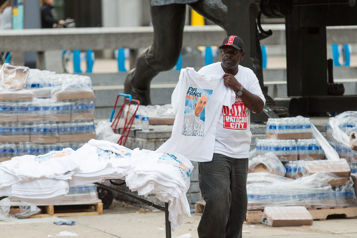 A vendor sells t-shirts during the visit of Pope Francis to Philadelphia.