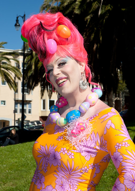 A transvestite at the Easter Hunky Jesus Contest in Dolores Park, San Francisco.