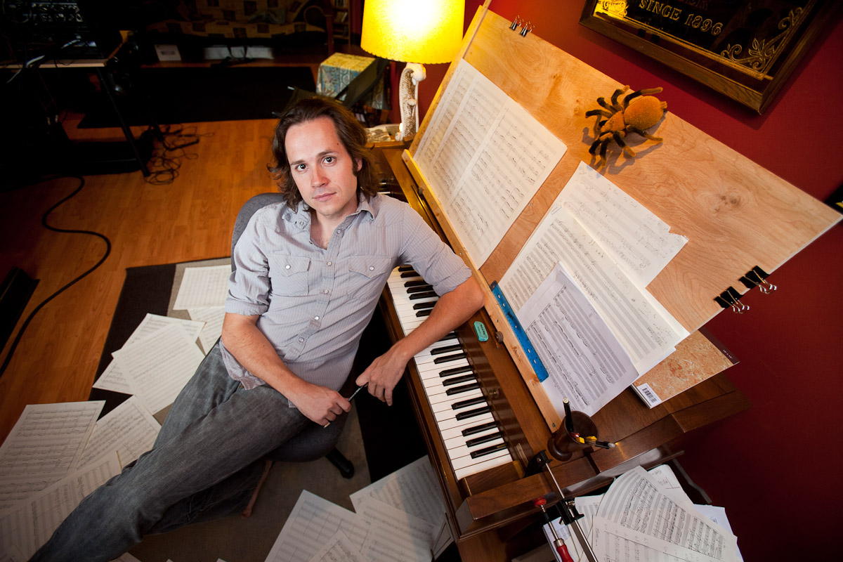 Musician and composer Andrew Lipke in his home studio in Philadelphia.