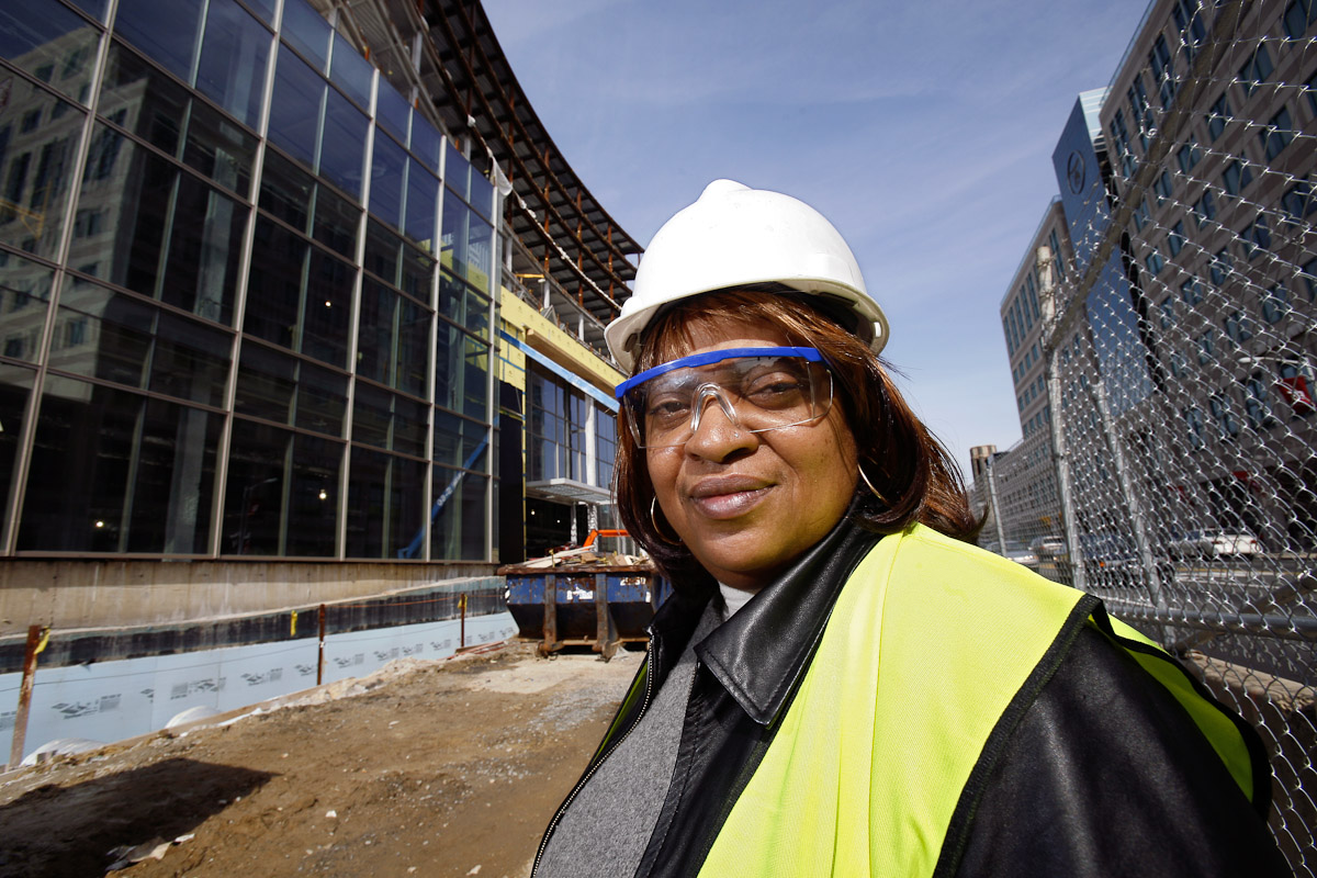 Karen Miller is photographed at the construction site for Temple University Medical School in Philadelphia.