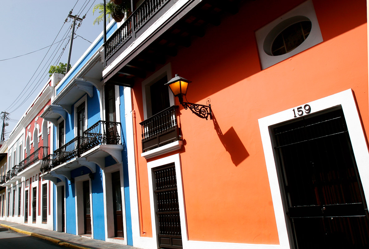 Houses in Old San Juan, Puerto Rico.