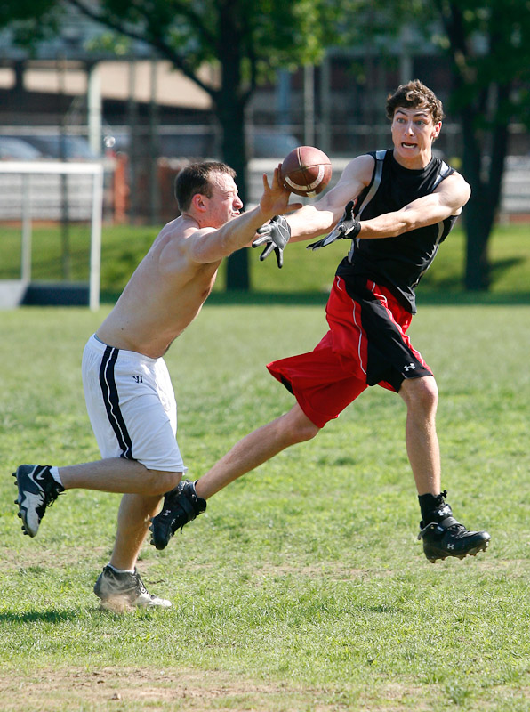 Students practice sprint football on the campus of the University of Pa. in Philadelphia.
