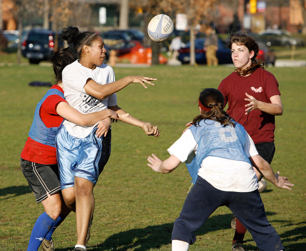 Members of the University of Pa. women's rugby team practice on the campus in Philadelphia.