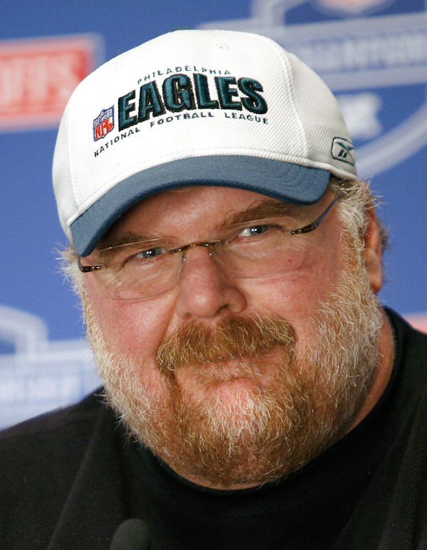 Andy Reid, head coach of the Philadelphia Eagles, smiles during a press conference in Philadelphia.