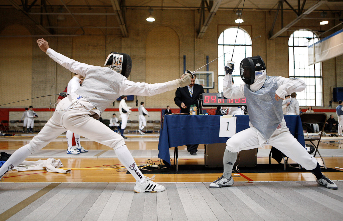Fencers from Duke, right, and the University of Pa. face off in the Philadelphia Invitational fencing tournament at the University of Pa.