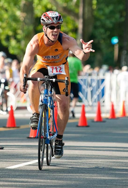 A rider competes in the Philadelphia Insurance Triathlon in Philadelphia.