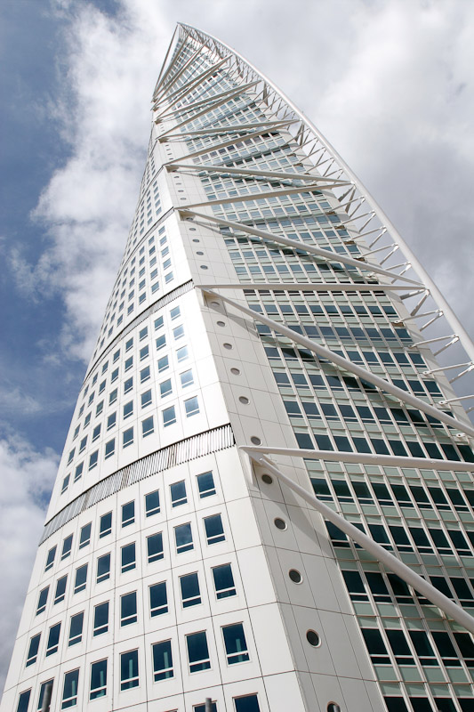 Turning Torso, a 54-storey residential tower in Malmö, Sweden, designed by Spanish architect Santiago Calatrava.