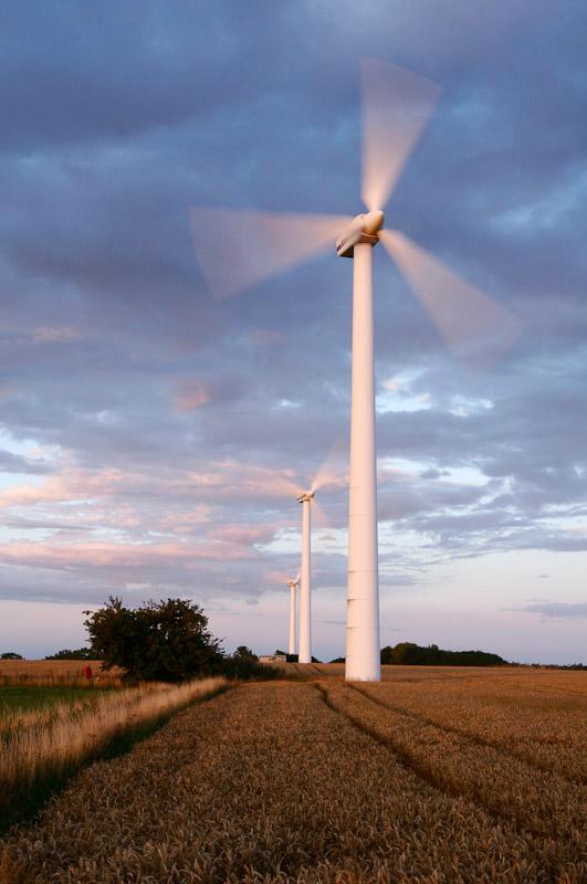 Wind turbines in Skåne, Sweden.