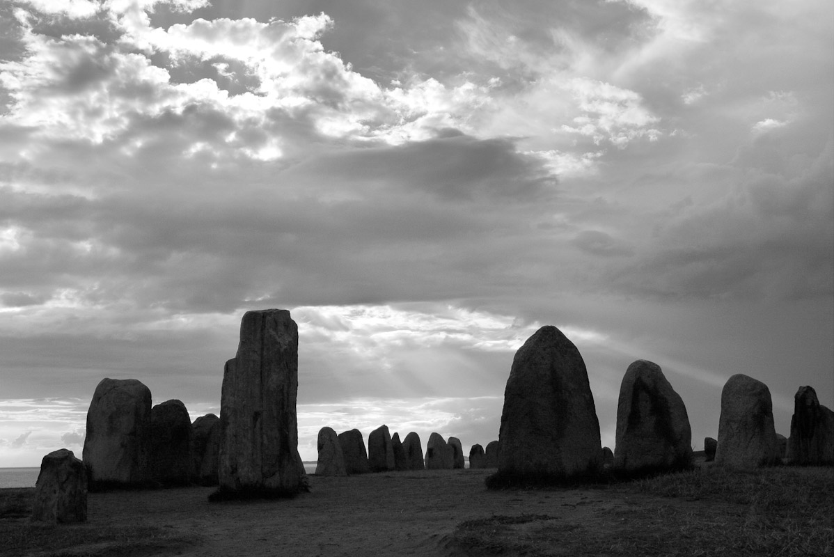 A photograph of the prehistoric stone circle of Ales Stenar which contains 59 standing stones arranged in the form of a ship 67 meters in length in southern Sweden near Kåseberger, and are believed to date to the times of the Vikings, 600-1000 AD.