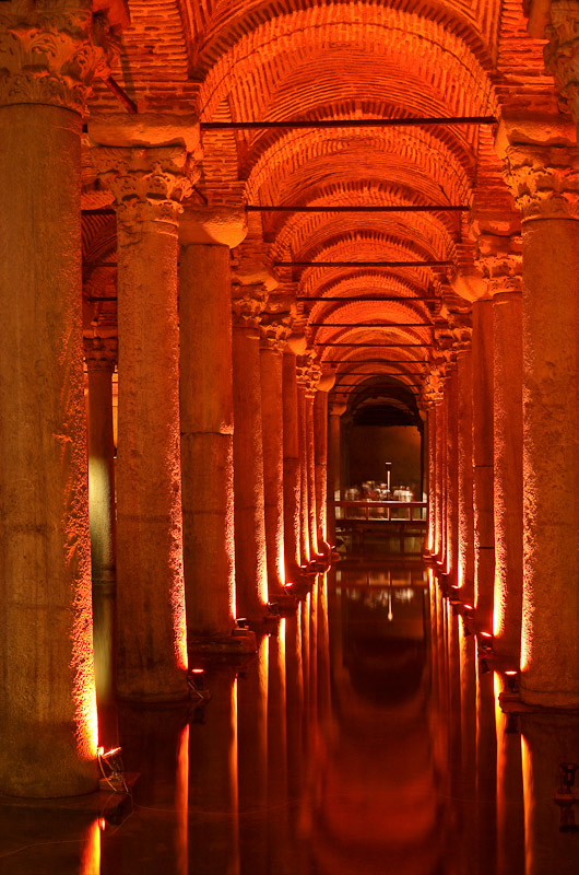 The Basilica Cistern in Istanbul, Turkey.