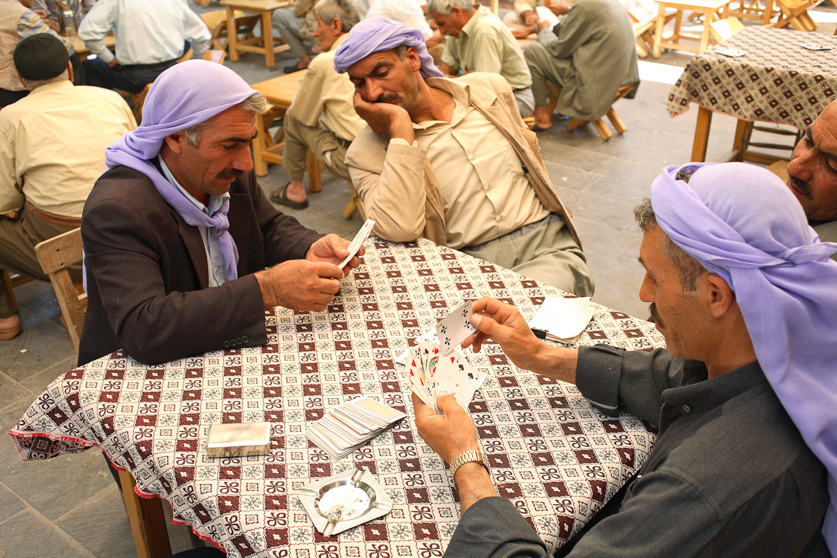 Card players in the han in Sanliurfa, Turkey.