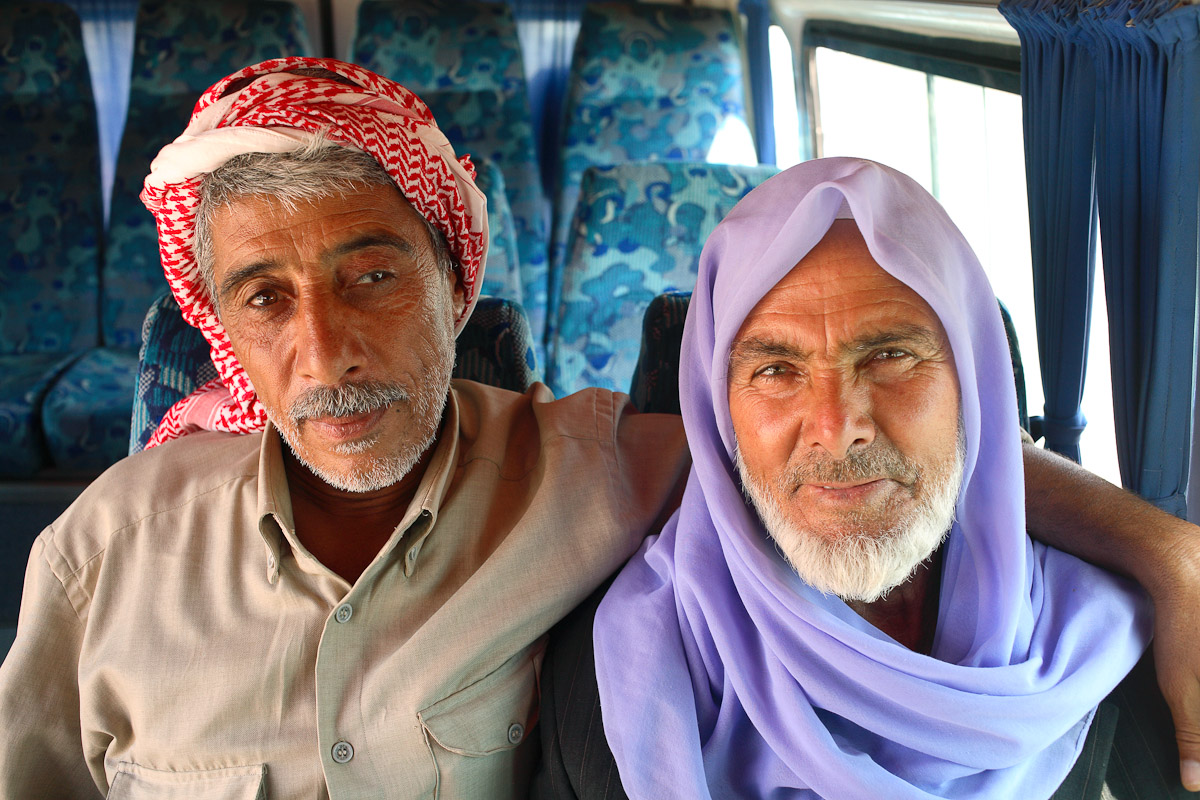 Portrait of men on a bus to Harran, Turkey.