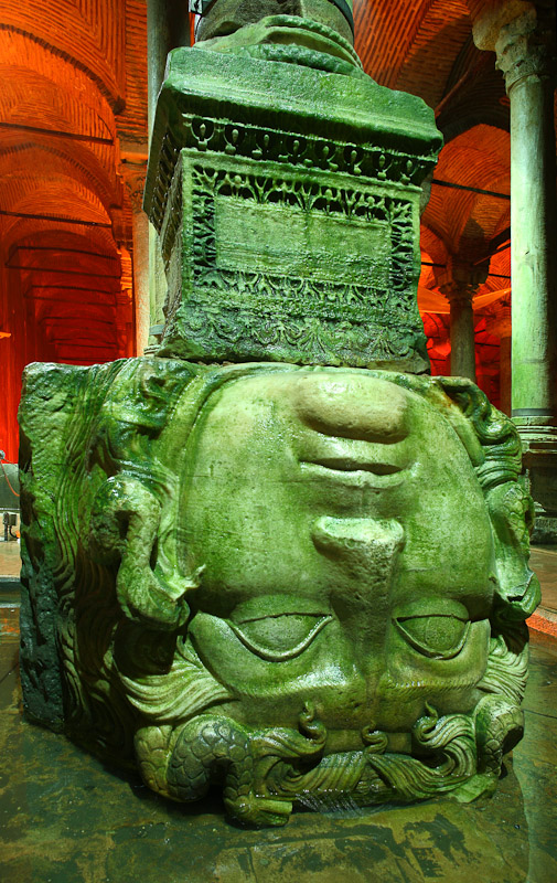 A medusa head column in the Basilica Cistern in Istanbul, Turkey.