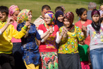 Women dance the horon in the mountainous town of Ayder, Turkey.
