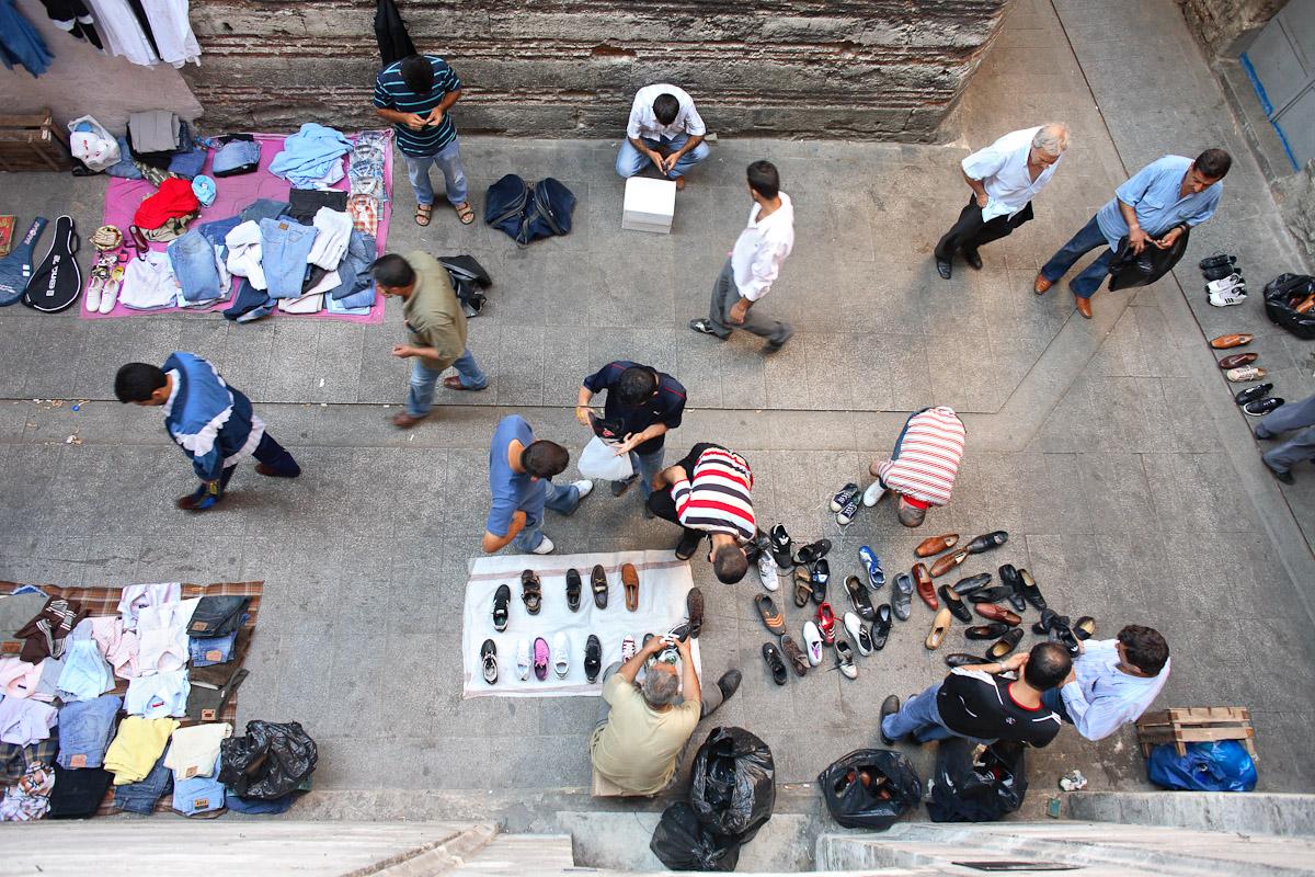 A street market in Istanbul, Turkey.