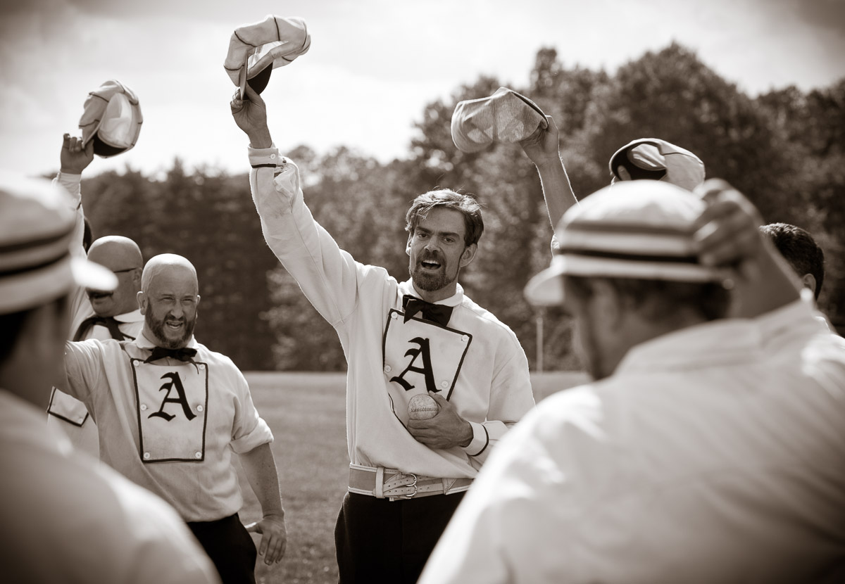 Ryan {quote}Hurleigh{quote} Berley of the Philadelphia Athletic Base Ball Club leads a cheer for members of the Excelsior Base Ball Club of Arundel in Havertown, PA following a match.