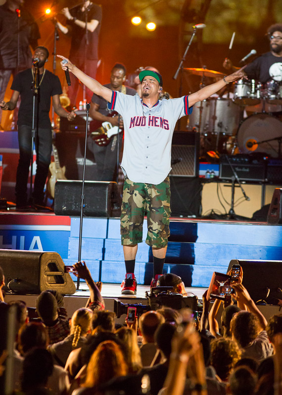 J. Cole performs with The Roots at the Welcome America 4th of July Jam in Philadelphia.